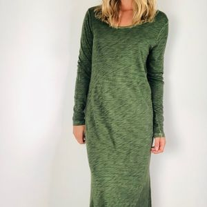Peruvian Connection Cotton Green Midi Maxi Dress M